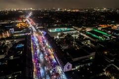 Vista aérea de Hamburgo en la noche, Alemania Tiempo de la Navidad Fotos de archivo