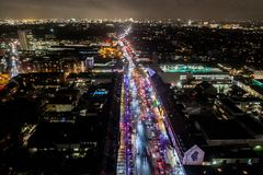 Vista aérea de Hamburgo en la noche, Alemania Tiempo de la Navidad Imagen de archivo libre de regalías