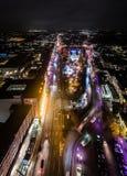 Vista aérea de Hamburgo en la noche, Alemania Tiempo de la Navidad Fotografía de archivo