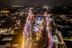 Vista aérea de Hamburgo en la noche, Alemania Tiempo de la Navidad Imagenes de archivo