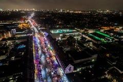 Vista aérea de Hamburgo en la noche, Alemania Tiempo de la Navidad Foto de archivo libre de regalías