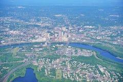 Vista aérea de Hartford de la ciudad abajo Imagen de archivo libre de regalías