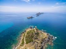 Vista aérea de ilhas sedentos de sangue de Sanguinaires em Córsega, Fra Imagens de Stock Royalty Free
