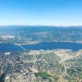 Vista aérea de Kelowna A.C. Imagen de archivo libre de regalías