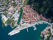 Vista aérea de Kotor Imagen de archivo libre de regalías