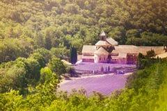 Vista aérea de la abadía de Senanque en Provence Fotografía de archivo