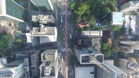 Vista aérea de la avenida famosa de Avenida Paulista Paulista en Sao Paulo, el Brasil - visión superior almacen de metraje de vídeo