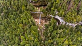 Vista aérea de la caída doble del agua en un bosque Fotos de archivo libres de regalías