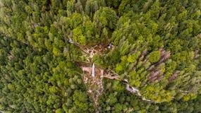 Vista aérea de la caída doble del agua en un bosque Imagen de archivo libre de regalías