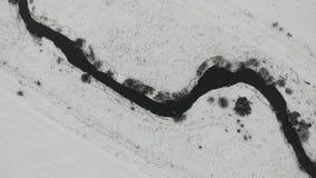 Vista aérea de la cama de río, estación del invierno, campo Río de Tysmenytsya en el oeste de Ucrania Visión superior, mosca enci metrajes