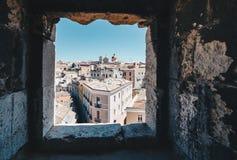 Vista aérea de la capital de Cerdeña de la ventana de TA Imágenes de archivo libres de regalías