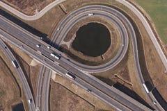 Vista aérea de la carretera en Polonia imagen de archivo