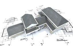 Vista aérea de la casa costosa foto de archivo