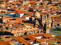 Vista aérea de la catedral de Cusco Foto de archivo