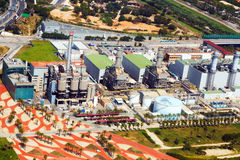 Vista aérea de la central eléctrica de la industria Barcelona Fotos de archivo libres de regalías