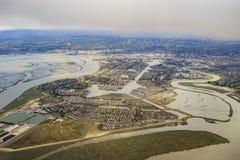 Vista aérea de la ciudad adoptiva hermosa cerca de San Francisco imagen de archivo
