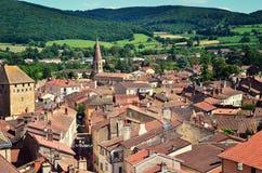 Vista aérea de la ciudad de Cluny en Francia, Borgoña fotos de archivo libres de regalías