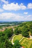 Vista aérea de la ciudad de Hluboka imagen de archivo libre de regalías