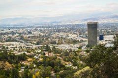 Vista aérea de la ciudad de Los Ángeles del parque Mountain View del barranco de Runyon Foto de archivo