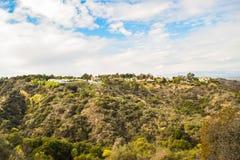 Vista aérea de la ciudad de Los Ángeles del parque Mountain View del barranco de Runyon Imagenes de archivo