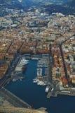 Vista aérea de la ciudad de Niza, de Francia y del coastlin circundante Fotografía de archivo libre de regalías
