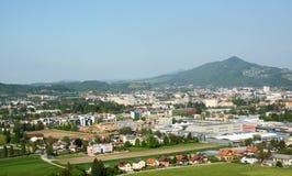 Vista aérea de la ciudad de Salzburg, Austria Foto de archivo libre de regalías