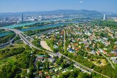 Vista aérea de la ciudad de Viena, Austria imágenes de archivo libres de regalías