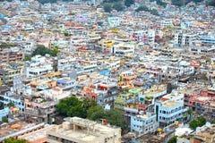 Vista aérea de la ciudad de Vijayawada en la India Foto de archivo libre de regalías