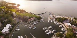 Vista aérea de la ciudad del puerto, Hilton Head fotografía de archivo libre de regalías