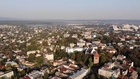 Vista aérea de la ciudad de Drohobych, Ucrania almacen de metraje de vídeo