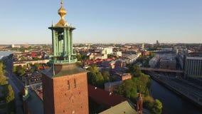 Vista aérea de la ciudad de Estocolmo almacen de video