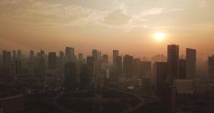 Vista aérea de la ciudad de Jakarta circa Semanggi CBD almacen de metraje de vídeo