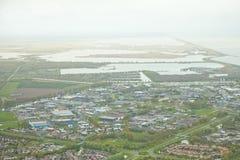 Vista aérea de la ciudad Lelystad Foto de archivo libre de regalías
