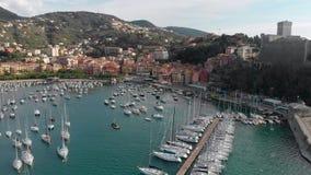 Vista aérea de la ciudad de Lerici, parte del italiano Rivera metrajes