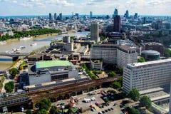 Vista aérea de la ciudad de Londres del ojo de Londres Imagenes de archivo