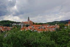 Vista aérea de la ciudad medieval fotografía de archivo