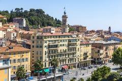 Vista aérea de la ciudad Niza, de lujo del centro turístico de riviera francesa, franco fotos de archivo