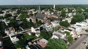 Vista aérea de la ciudad de puerto de la orilla del río de Delaware Gloucester New Jersey