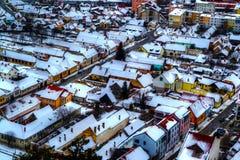 Vista aérea de la ciudad de Rasnov foto de archivo libre de regalías