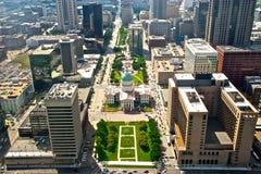 Vista aérea de la ciudad Scape de St. Louis