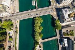 Vista aérea de la ciudad Suiza de Ginebra imagen de archivo libre de regalías