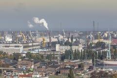 Vista aérea de la ciudad vieja de Gdansk con el ayuntamiento, Polonia Foto de archivo