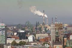 Vista aérea de la ciudad vieja de Gdansk con el ayuntamiento, Polonia Fotos de archivo