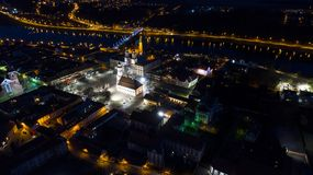 Vista aérea de la ciudad vieja de la ciudad en la noche Imagen de archivo
