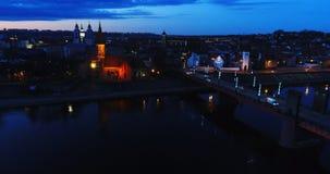Vista aérea de la ciudad vieja de la ciudad en la noche Imagenes de archivo