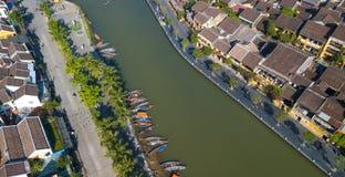 Vista aérea de la ciudad vieja de Hoi An o de la ciudad antigua de Hoian imagen de archivo libre de regalías