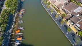 Vista aérea de la ciudad vieja de Hoi An o de la ciudad antigua de Hoian foto de archivo