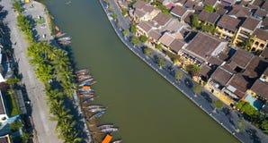 Vista aérea de la ciudad vieja de Hoi An o de la ciudad antigua de Hoian fotos de archivo
