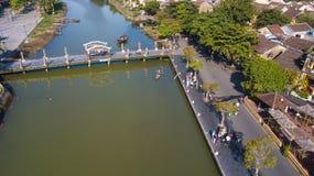 Vista aérea de la ciudad vieja de Hoi An o de la ciudad antigua de Hoian imágenes de archivo libres de regalías