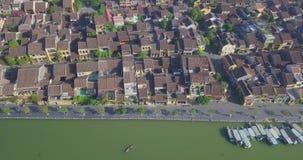 Vista aérea de la ciudad vieja de Hoi An o de la ciudad antigua de Hoian metrajes
